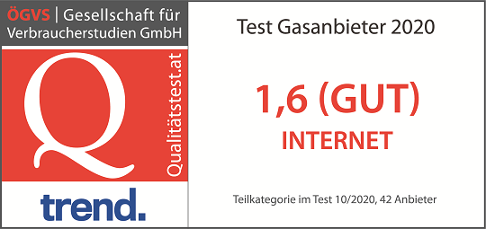 "Note 1,6 in der Kategorie ""Internet"" beim Gasanbieter Test 2019"